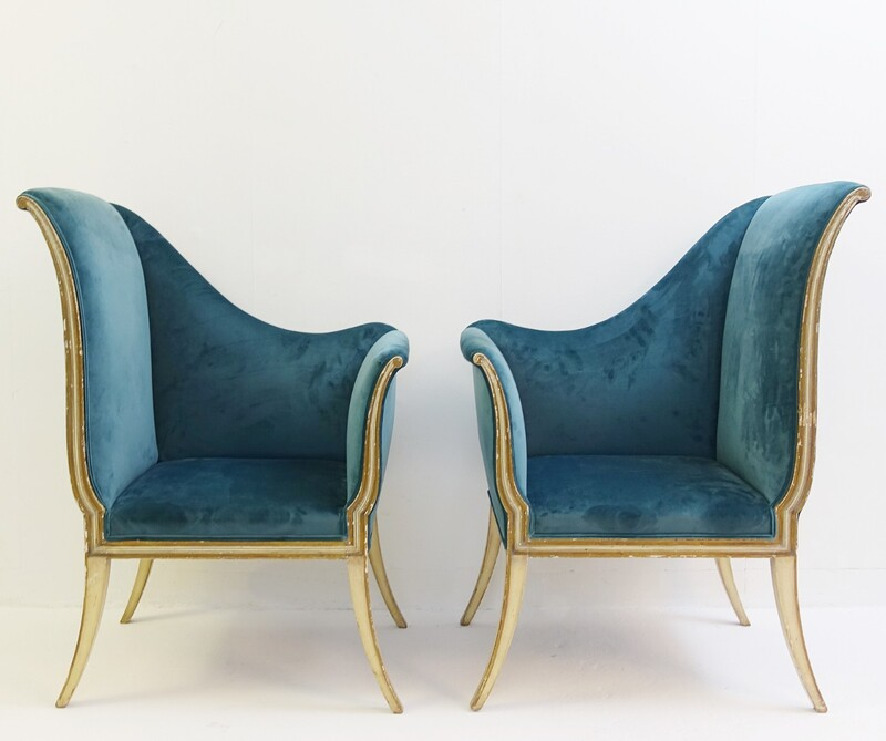 pair of corner chairs - new velvet upholstery