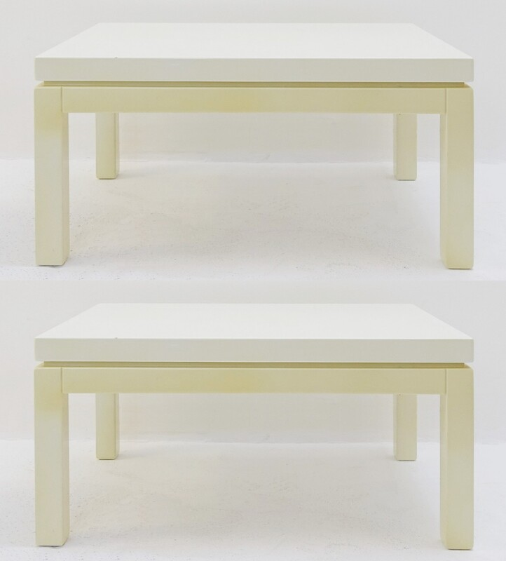 Pair of Cream White Lacquered end tables