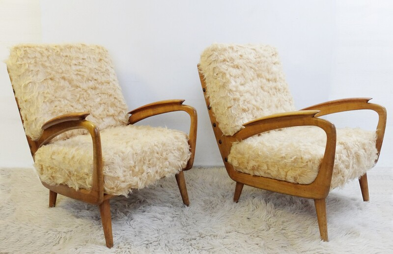 Pair Of Faux Fur Armchairs