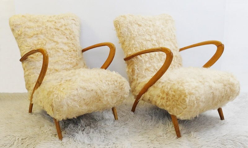 Pair Of Faux Fur Armchairs by Guglielmo Ulrich
