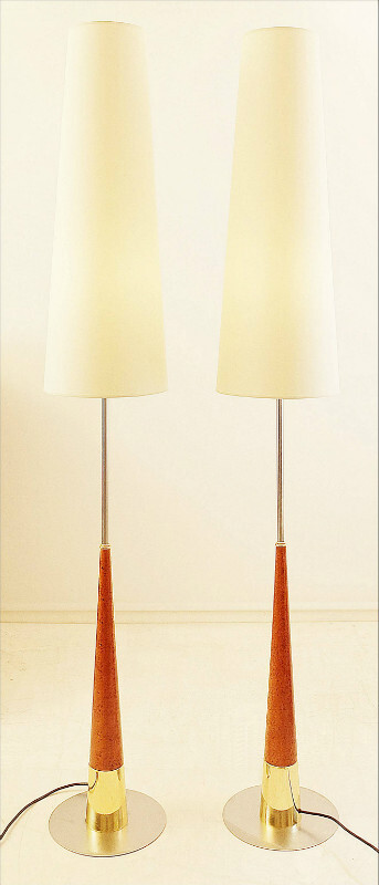Pair Of Floor lamps - Burl Walnut wood & Metal