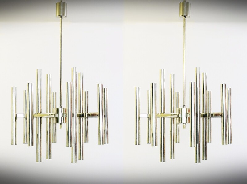 Pair of Gaetano Sciolari Chrome Chandeliers