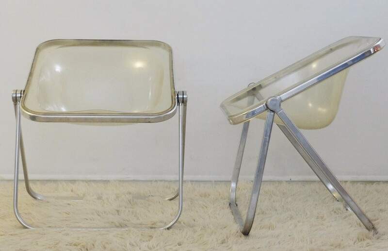 Pair of Giancarlo Piretti 'Plia' Clear Folding Chairs, 1960s