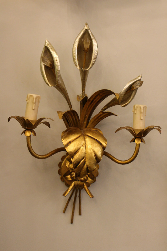 Pair of gilded wall lamps