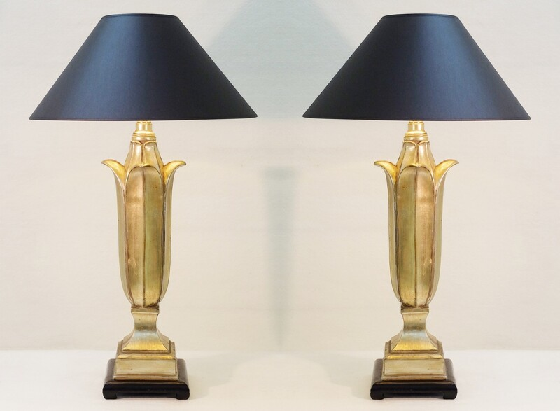 Pair of Gilded Wood table lamps