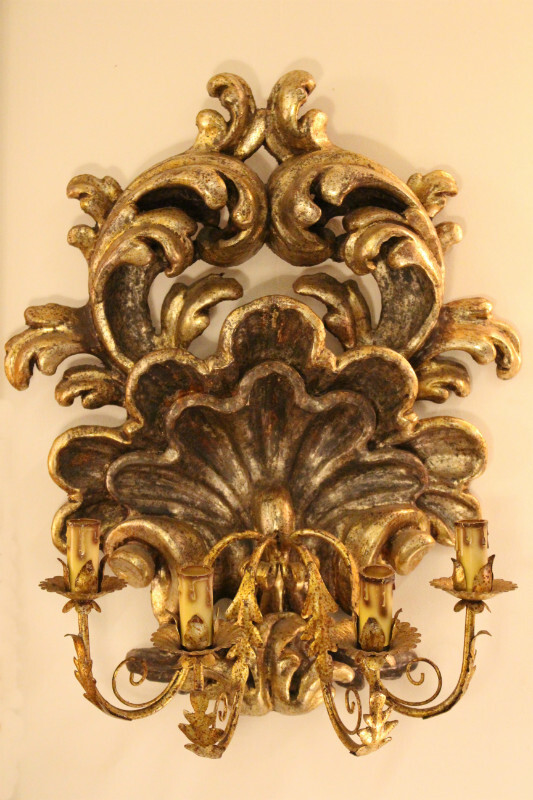 Pair of gilded wood wall lamps