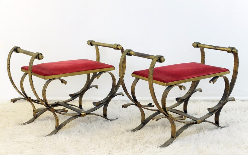Pair of gilt bronze stools