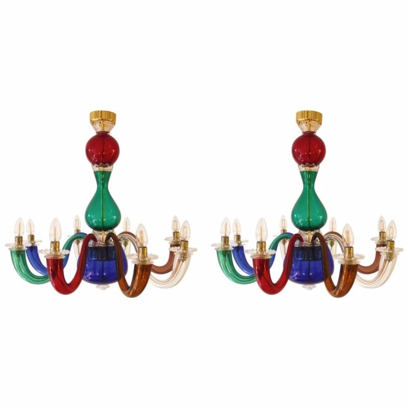 Pair of Gio Ponti for Venini Murano Chandeliers in Multicolored Glass