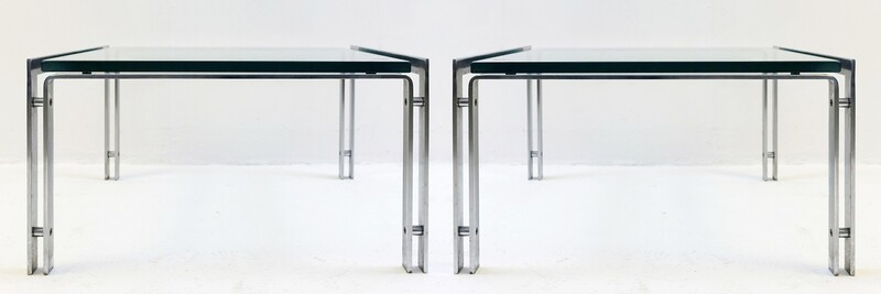 Pair of Glass and chrome End Tables by Metaform M1 by Hank Kwint