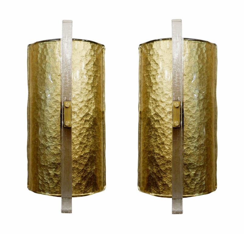 Pair Of Glass Wall Sconces - Italy