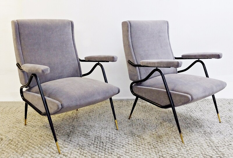 Pair of italian Adjustable Backrest Armchairs - New Upholstery