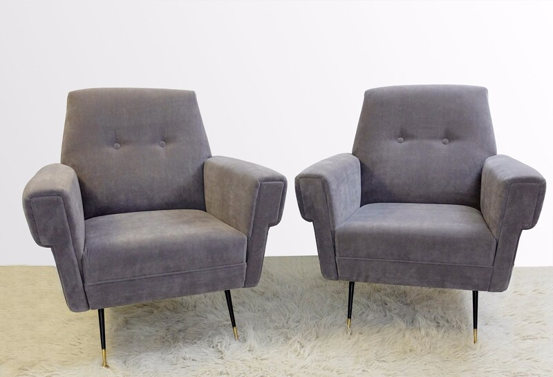 Pair Of Italian Armchair - New Velvet Upholstery