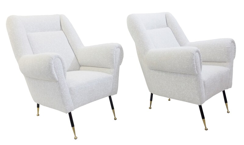 Pair Of Italian Armchair - New white Upholstery