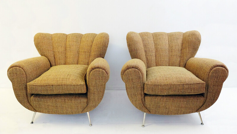 Pair Of Italian Armchairs - Circa 1950 - Newly Upholstered