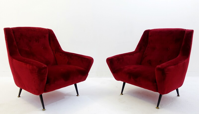 Pair of Italian Armchairs in Red Velvet Upholstery