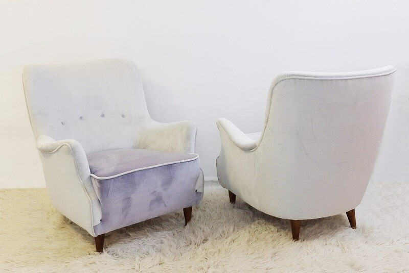 Pair of italian armchairs - New Upholstered
