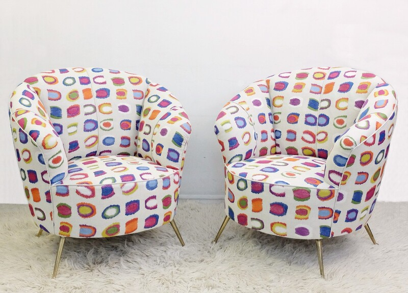 Pair Of Italian Armchairs - New Upholstery By Baker Lifestyle - Tropical Collection