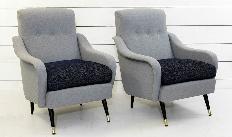 Pair Of Italian Armchairs - New Upholstery By Pierre Frey Collection