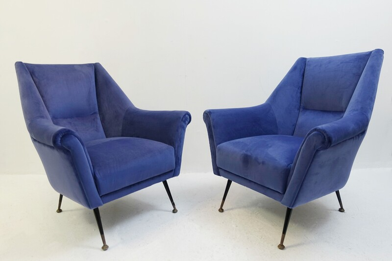 Pair of italian armchairs - New Velvet Upholstery