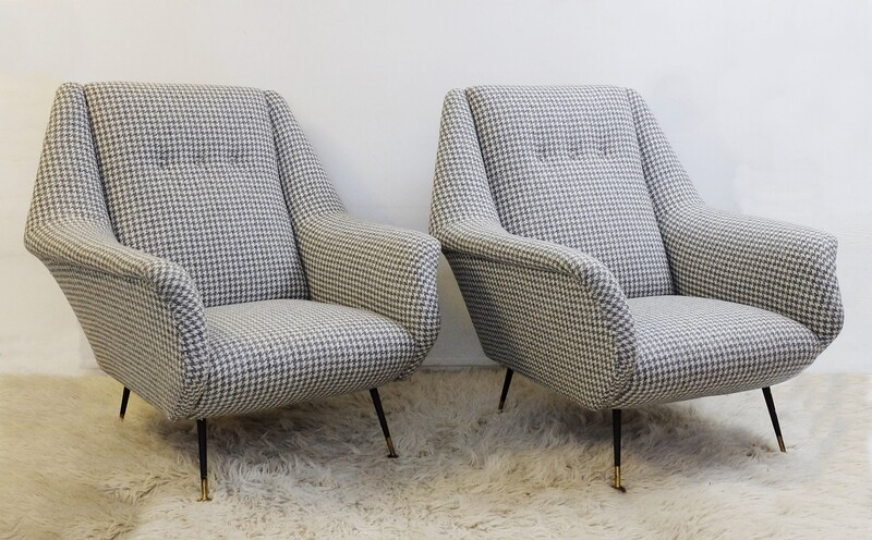 Pair of Italian armchairs Upholstered in Wool Houndstooth