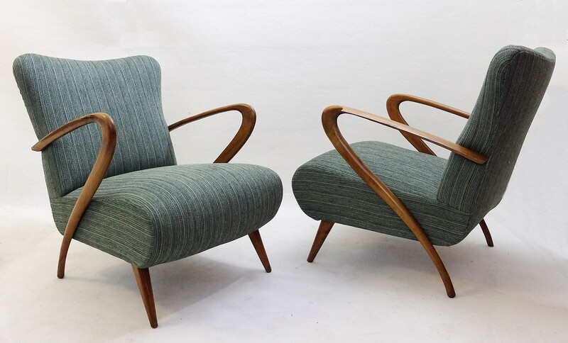 Pair of Italian Art Moderne armchairs by Guglielmo Ulrich, Italy 1950 - New Upholstery