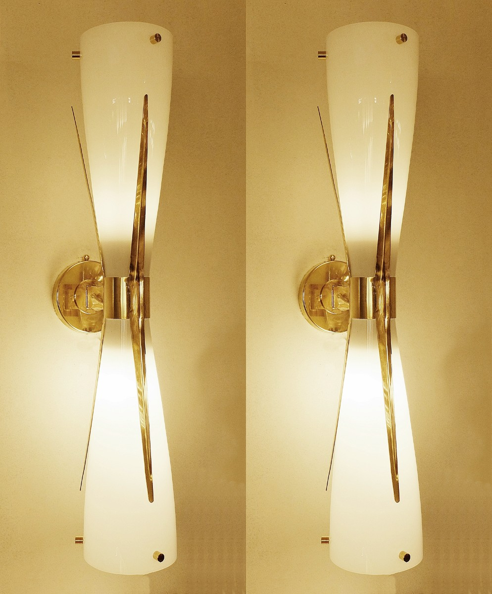 Pair of Italian Brass And Opaline Glass wall lamps - Via Antica ...