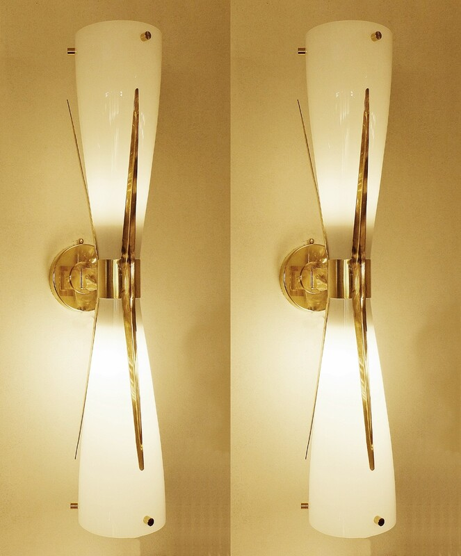 Pair of Italian Brass And Opaline Glass wall lamps