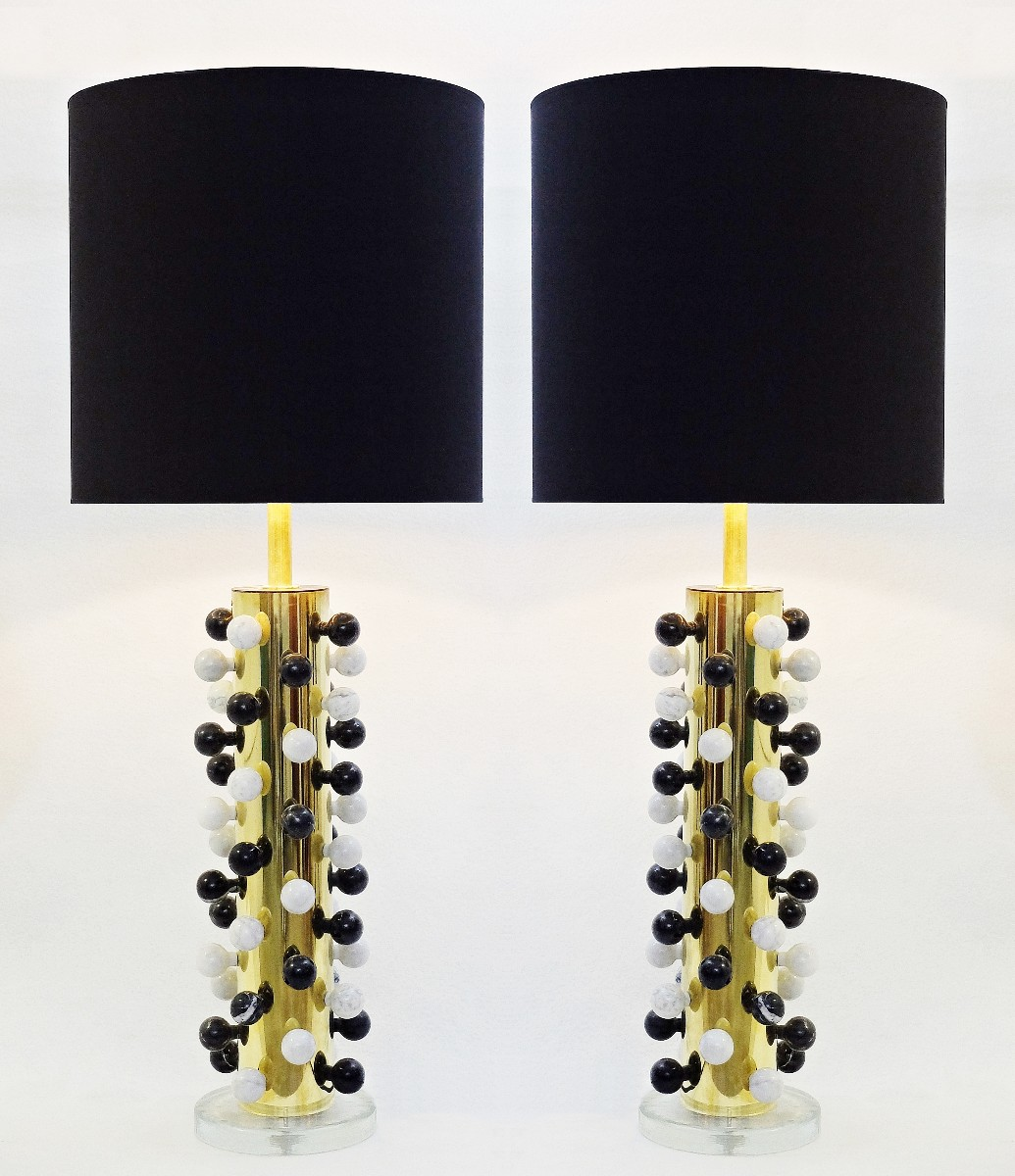 Pair Of Italian Brass Table Lamp And Black And White Marble Balls