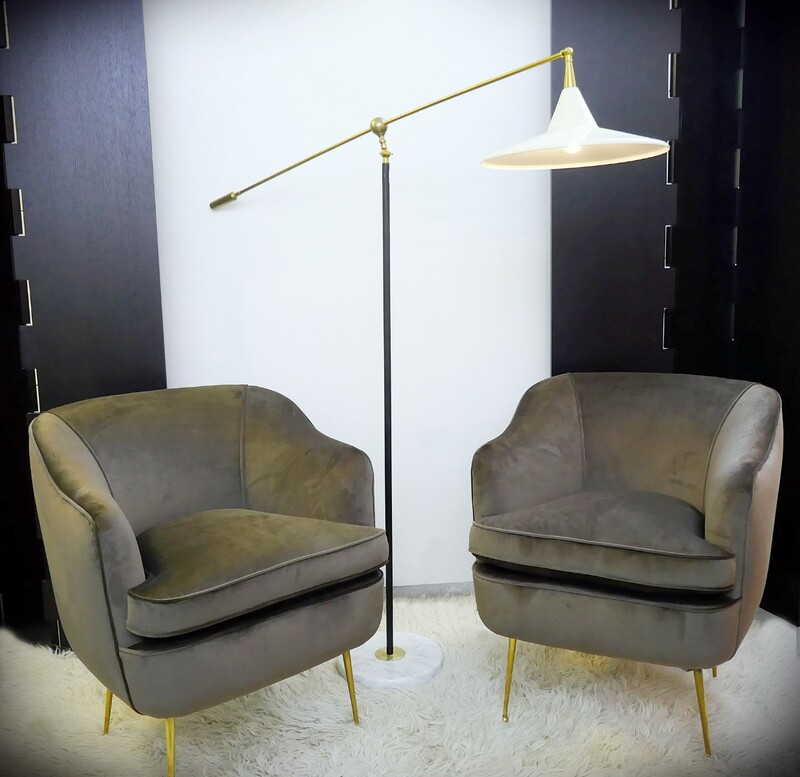 Pair of Italian Club Chairs - Newly Upholstered In