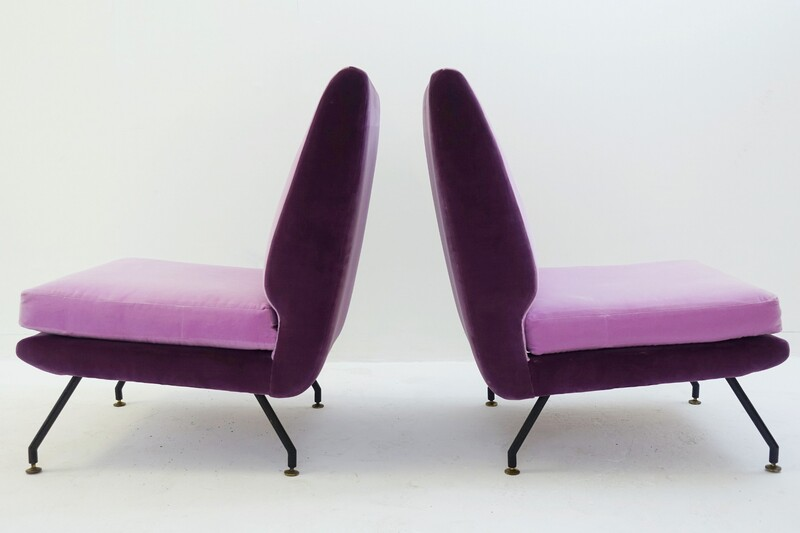 pair of italian Cocktail Chairs - New Pink Velvet Upholstered