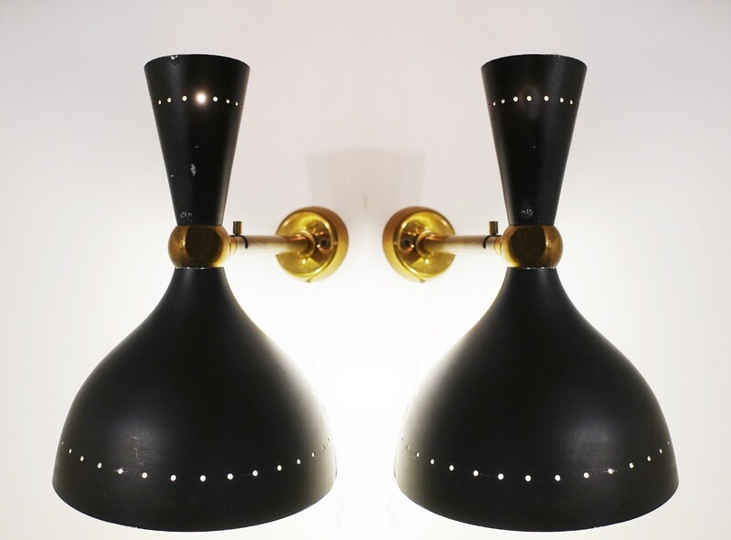 Pair of Italian Dual Light Sconces, Diabolo Design