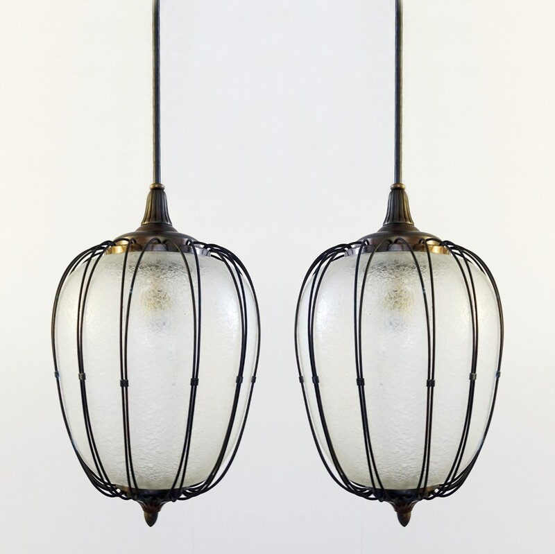 Pair of italian glass lanterns