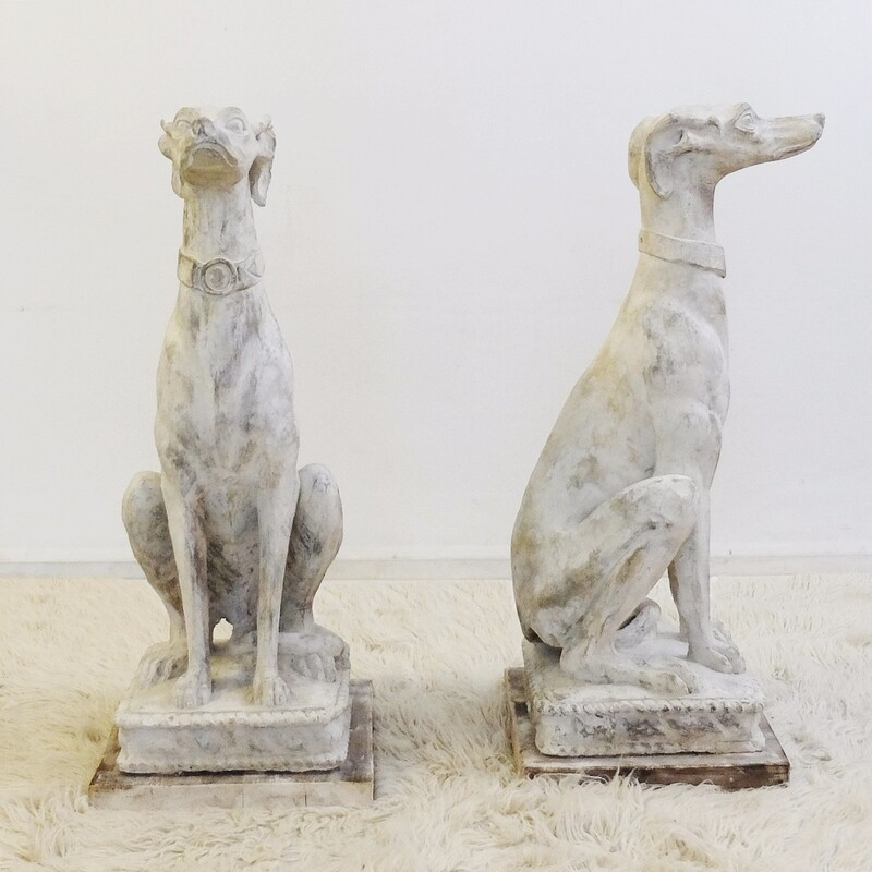Pair of Italian Seated Greyhound plaster Sculptures