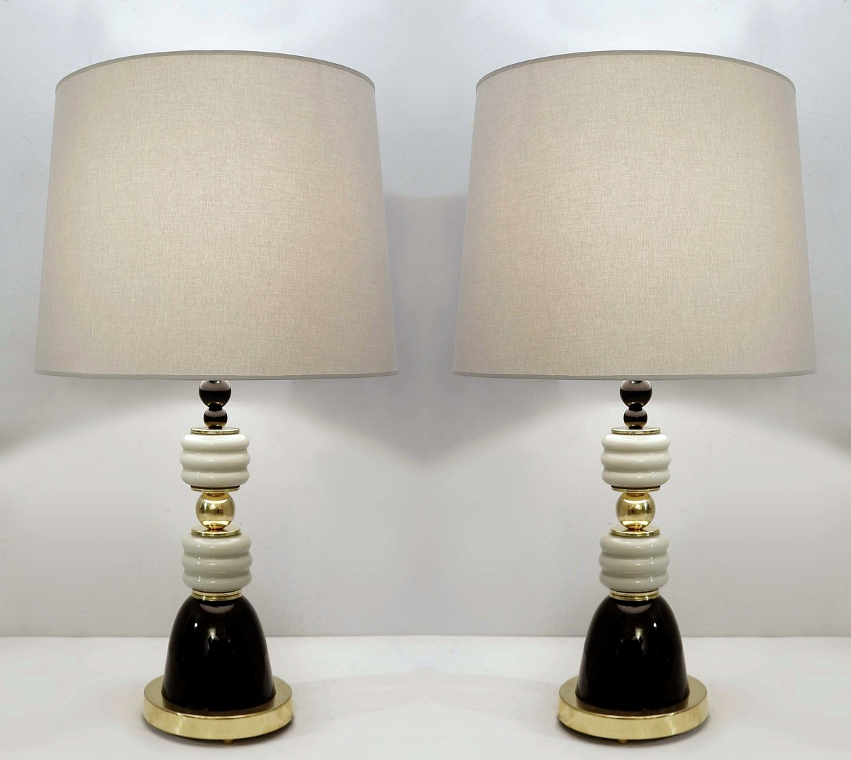 Pair Of Italian Table Lamps In Brass And Gray Black Glass Glass Ceiling Search Results European Antiques Decorative