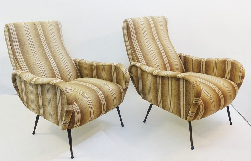 Pair of italian Zanuso style armchairs to restore