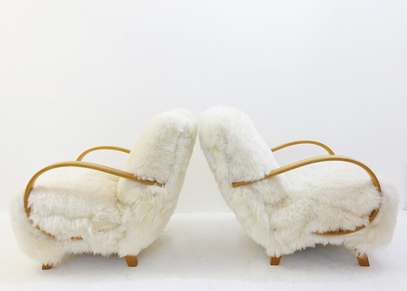 Pair of Jindrich Halabala for UP Zavody - 1930 - New Sheepskin Upholstery