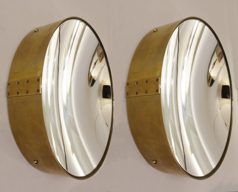 pair of large concave mirrors