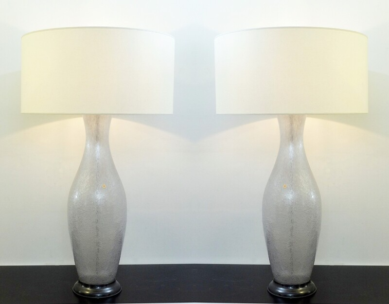 Pair of Large Italian Murano Glass Table Lamps