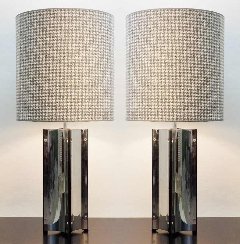 pair of large table lamps chrome -  New Houndstooth Lampshade