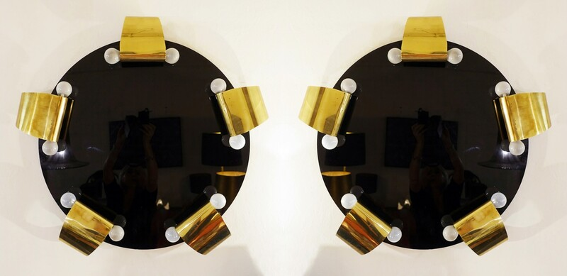 Pair of large wall Sconces with brass and black glass