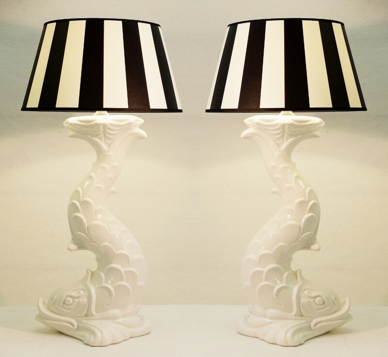 Pair of Large White  Ceramic Fish Table Lamps