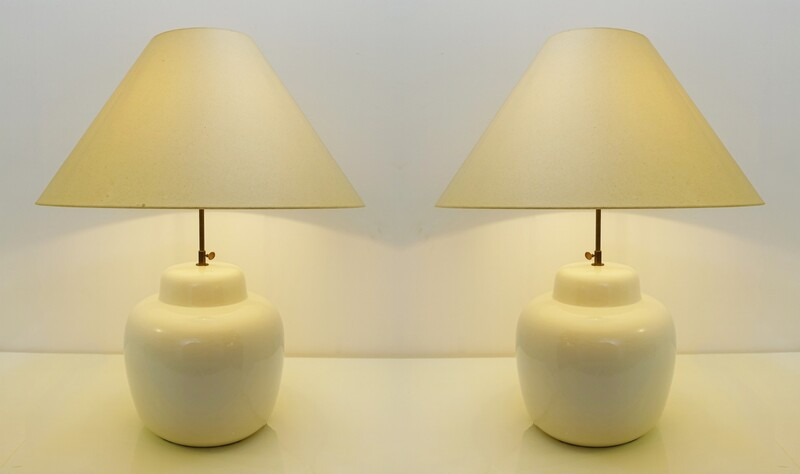 pair of large white cream ceramic lamps