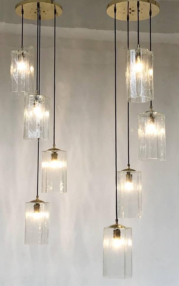 Pair Of Long Glass Pendant Lights Ceiling Light Lighting Via Antica
