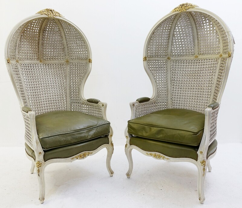 Pair of Louis XV Style Double Cane Canopy Porter Chairs