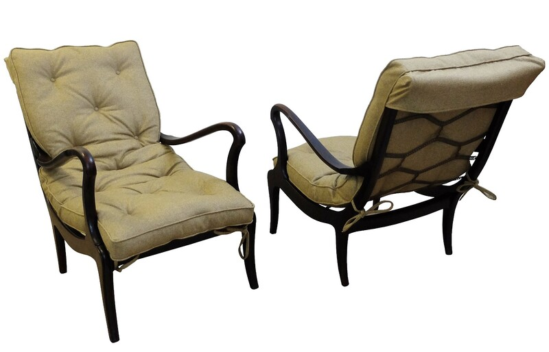 Pair of Lounge Chairs by Ezio Longhi - 1950s, New Upholstery