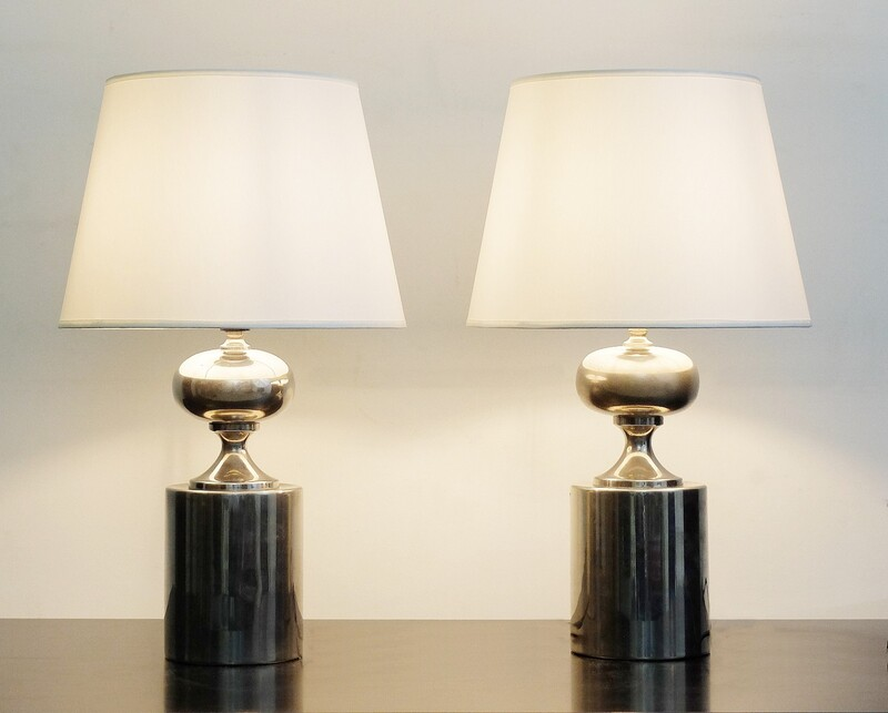 Pair of Maison Barbier Chrome Table Lamps, Circa 1970
