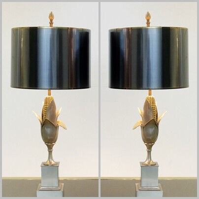 Pair of Maison Charles Corn Lamps - c 1960
