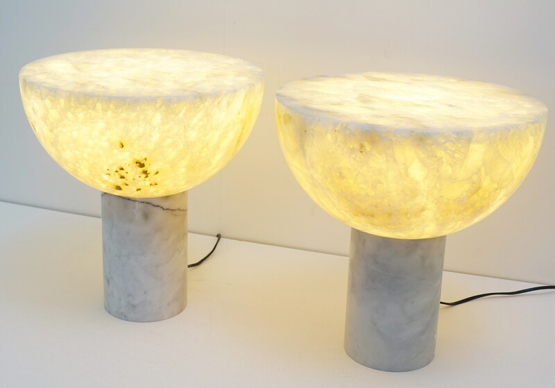 Pair of marble & yellow calcite table lamps