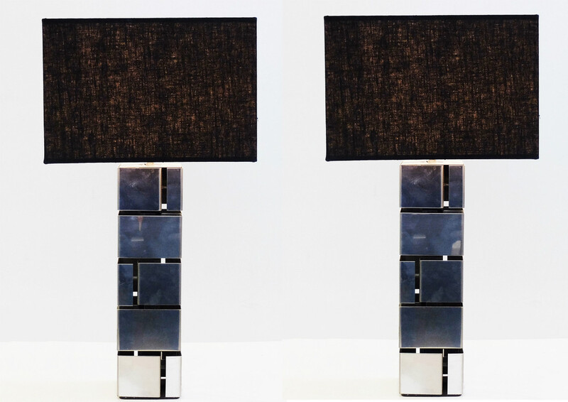 Pair of max sauze aluminium table lamps c. 1970