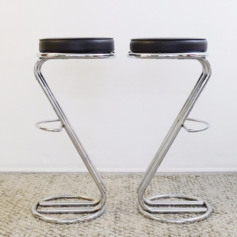 Pair of Mid-Century Modern Chrome Bar Stools